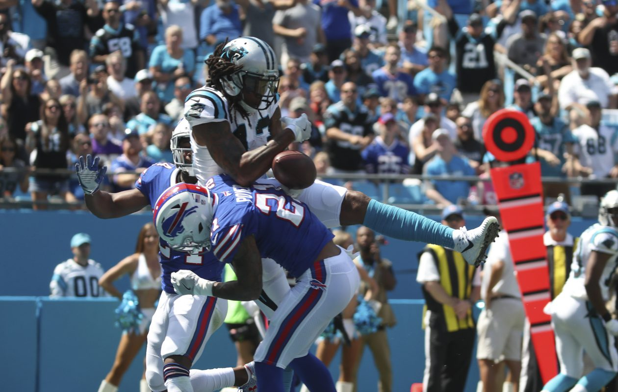 Buffalo Bills free safety Jordan Poyer (21) breaks up a pass intended for Carolina Panthers wide receiver Kelvin Benjamin (13) in the end zone in the first quarter. (James P. McCoy / Buffalo News)
