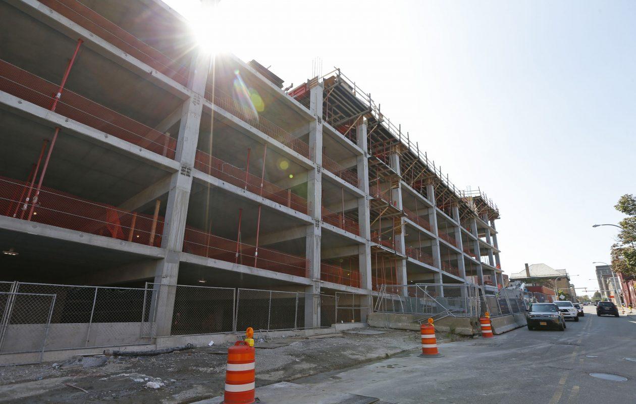 A new parking ramp is under construction behind Oishei Children's Hospital on the Buffalo Niagara Medical Campus. (Robert Kirkham/Buffalo News)