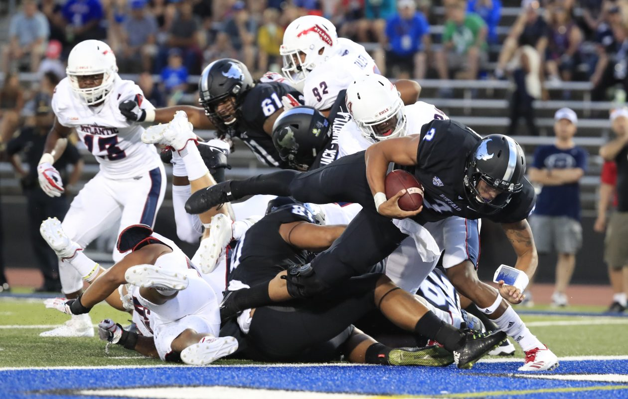 UB's Tyree Jackson scores a touchdown in the first quarter against Florida Atlantic. Jackson left the game with an injury late in the first half. (Harry Scull Jr./Buffalo News)