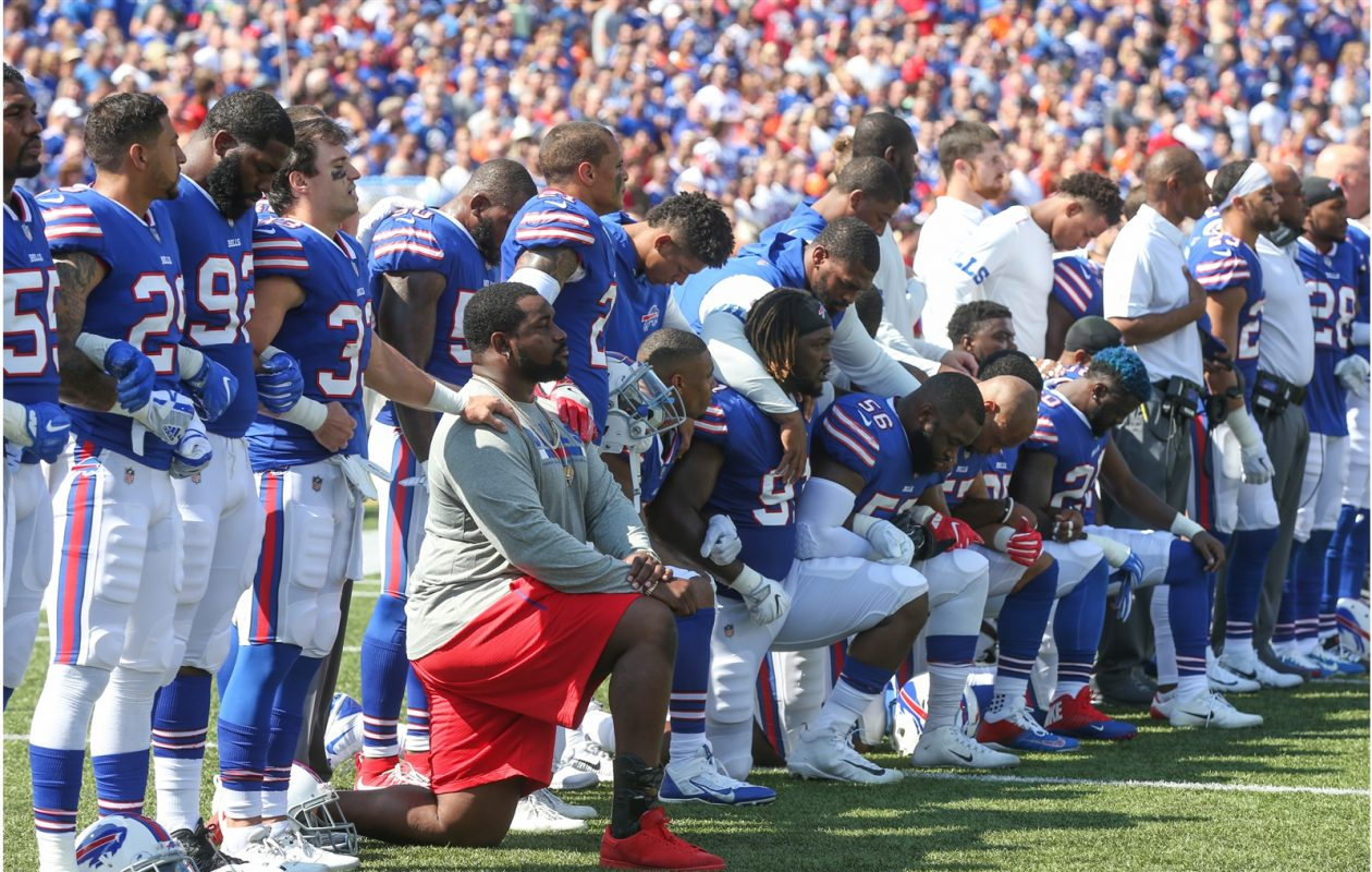 Some Bills players took a knee during the national anthem before a game last year in Orchard Park. (James P. McCoy/Buffalo News)