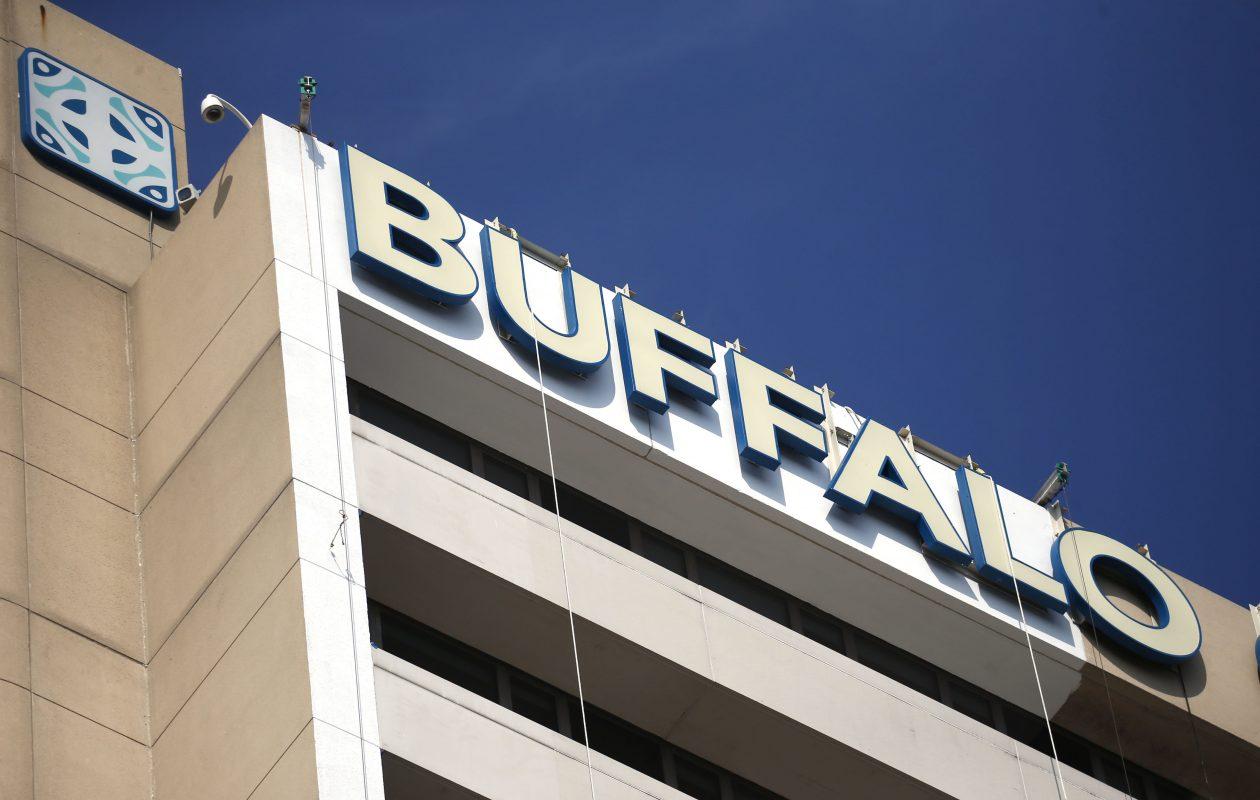 Work has begun to improve the exterior of Buffalo General.  (Robert Kirkham/Buffalo News)