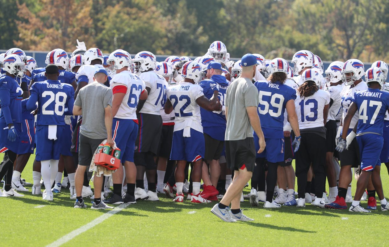 Buffalo Bills huddle before the start of practice Wednesday, Sept. 27, 2017,  at ADPRO Sports Training Center in Orchard Park, N.Y. (James P. McCoy/Buffalo News)