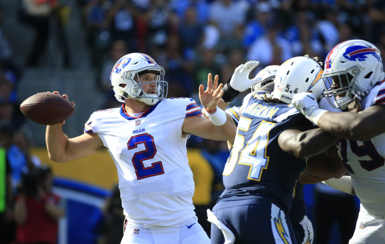 Despite a five-interception effort against the Los Angeles Chargers, Bills coach Sean McDermott hasn't ruled out starting quarterback Nathan Peterman in Week 12. (Harry Scull Jr./ Buffalo News)