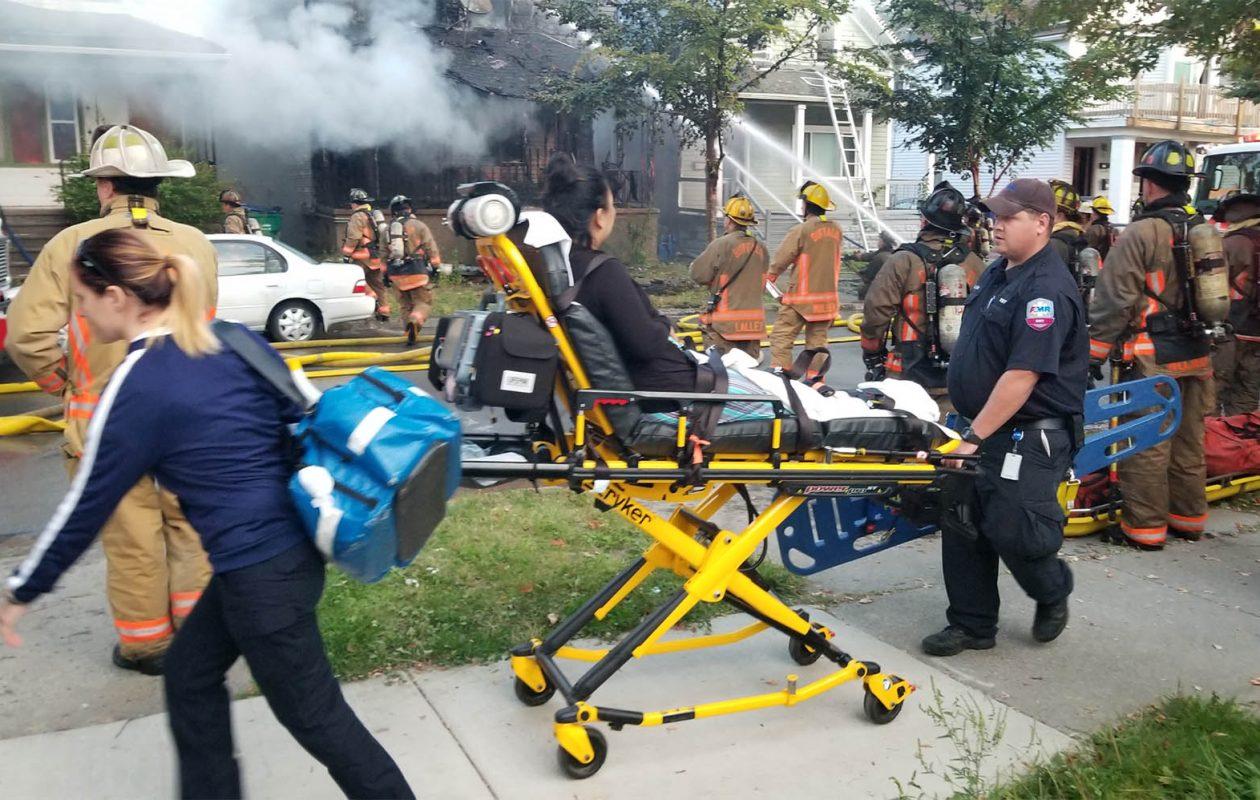 Buffalo firefighters battle a large house fire on Massachusetts Avenue, near Prospect Avenue, on Friday, Sept. 22, 2017. (David F.Kazmierczak / Special to The Buffalo News)