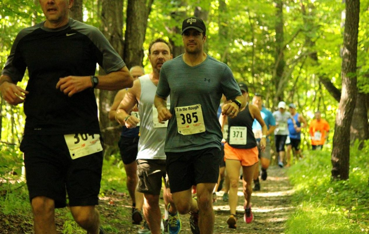 The race 8 in the Rough travels through the trails at Sprague Brook park. (Photo by Sarah Anderson)