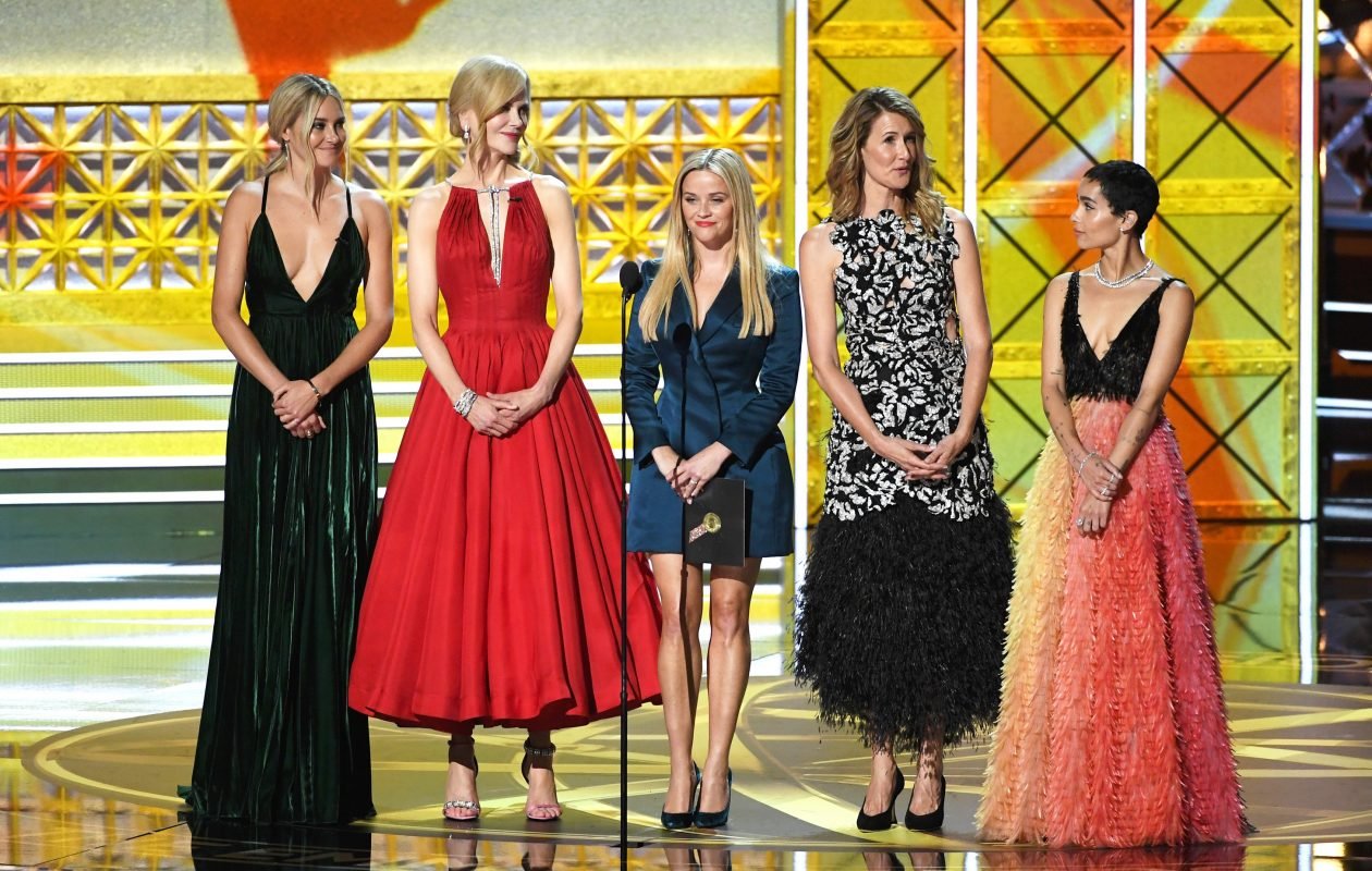 From left, actors Shailene Woodley, Nicole Kidman, Reese Witherspoon, Laura Dern and Zoe Kravitz sport a variety of styles during the 69th annual Primetime Emmy Awards at Microsoft Theater on Sept.  17 in Los Angeles.   (Photo by Kevin Winter/Getty Images)