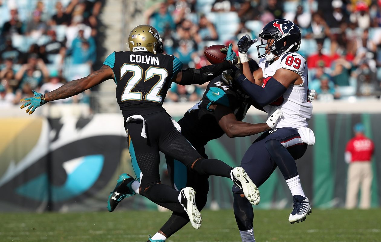 Aaron Colvin (22) and  Myles Jack (44) help make the Jaguars' pass defense awesome. (Logan Bowles/Getty Images)