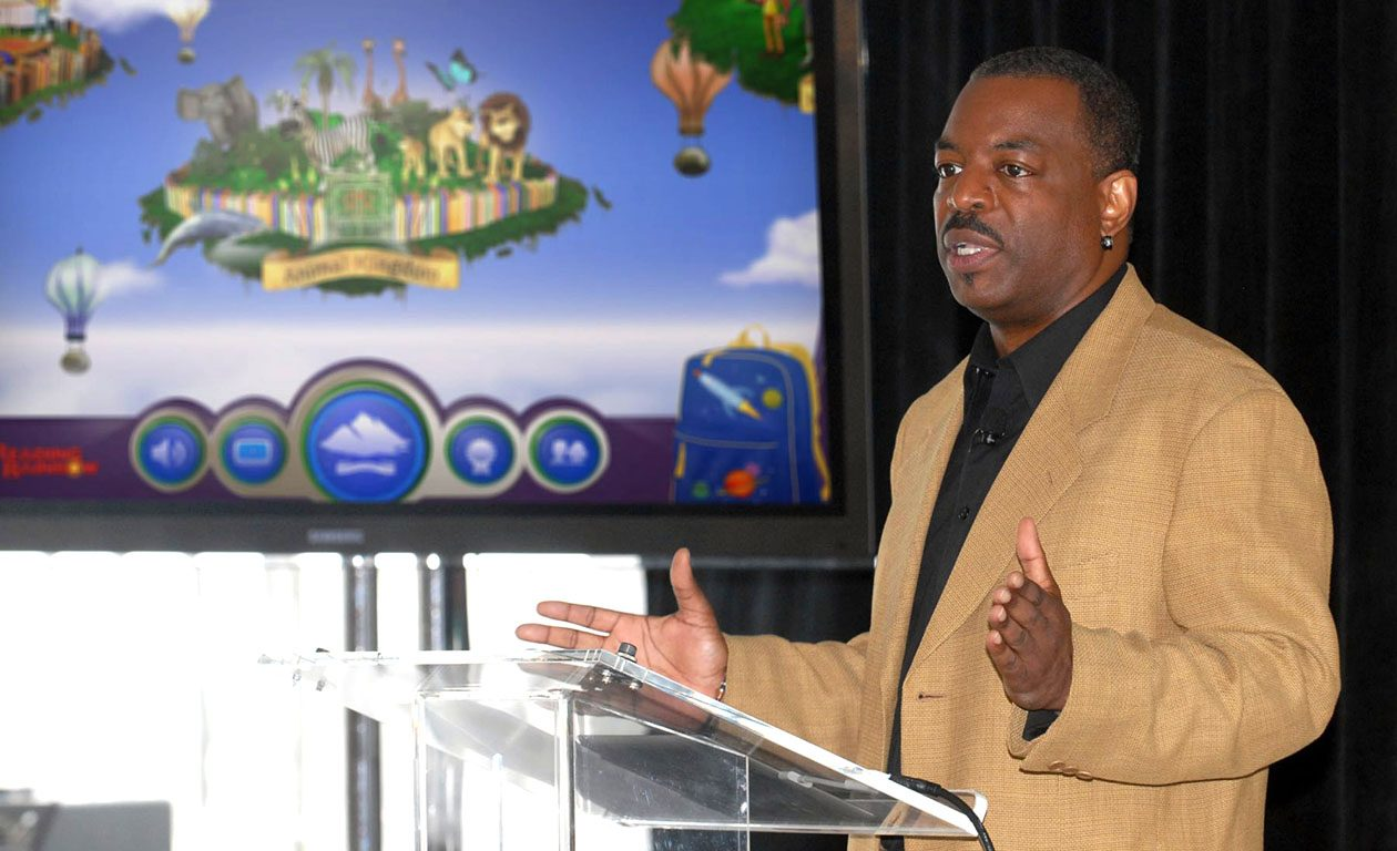 In 2012, LeVar Burton introduced the 'Reading Rainbow' adventure app to the media, publishers and parents in New York. Burton's company has lost the license to the Reading Rainbox brand.  (PRNewsFoto/Reading Rainbow file photo)
