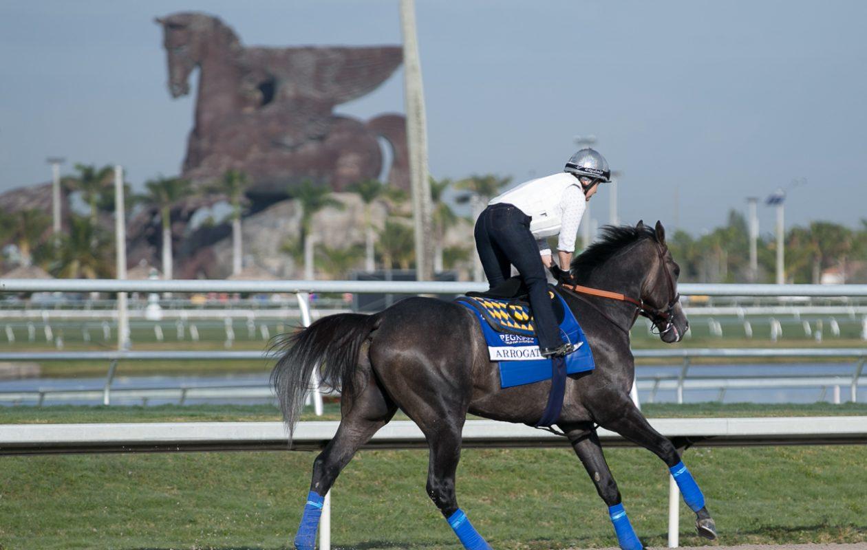 Arrogate, the 2017 Pegasus winner, in front of the race's namesake Photo Credit: Melanie Martines