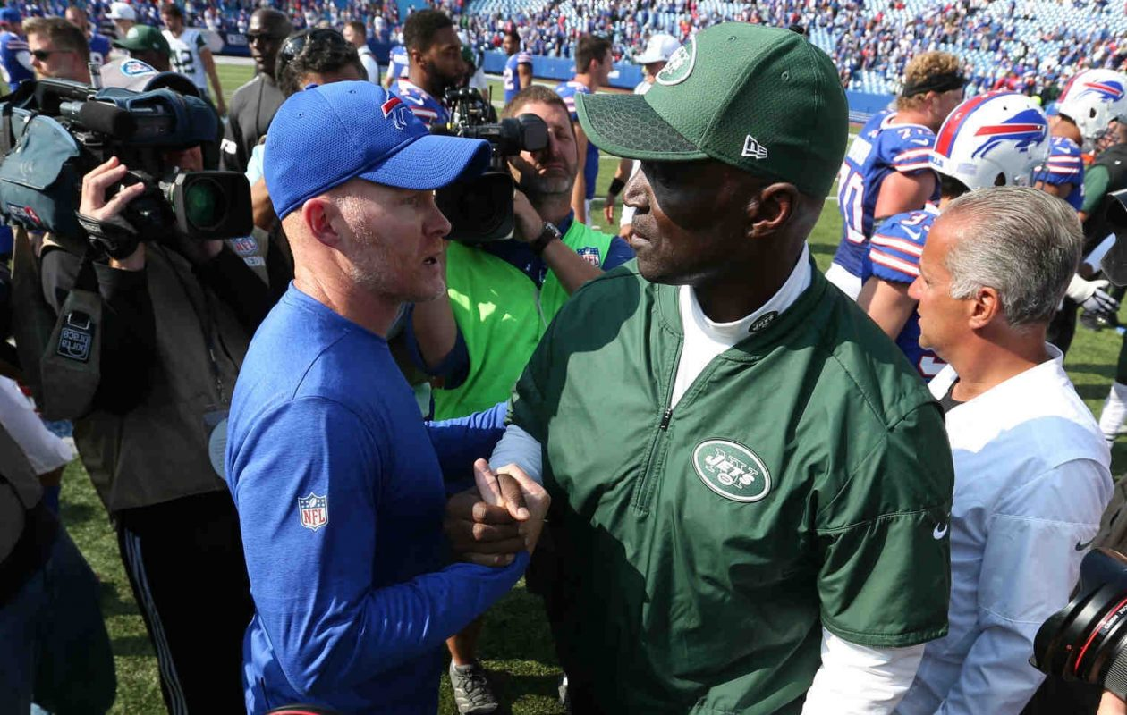 Sean McDermott and Todd Bowles shake hands after the Bills' Week One victory (James P. McCoy/Buffalo News)