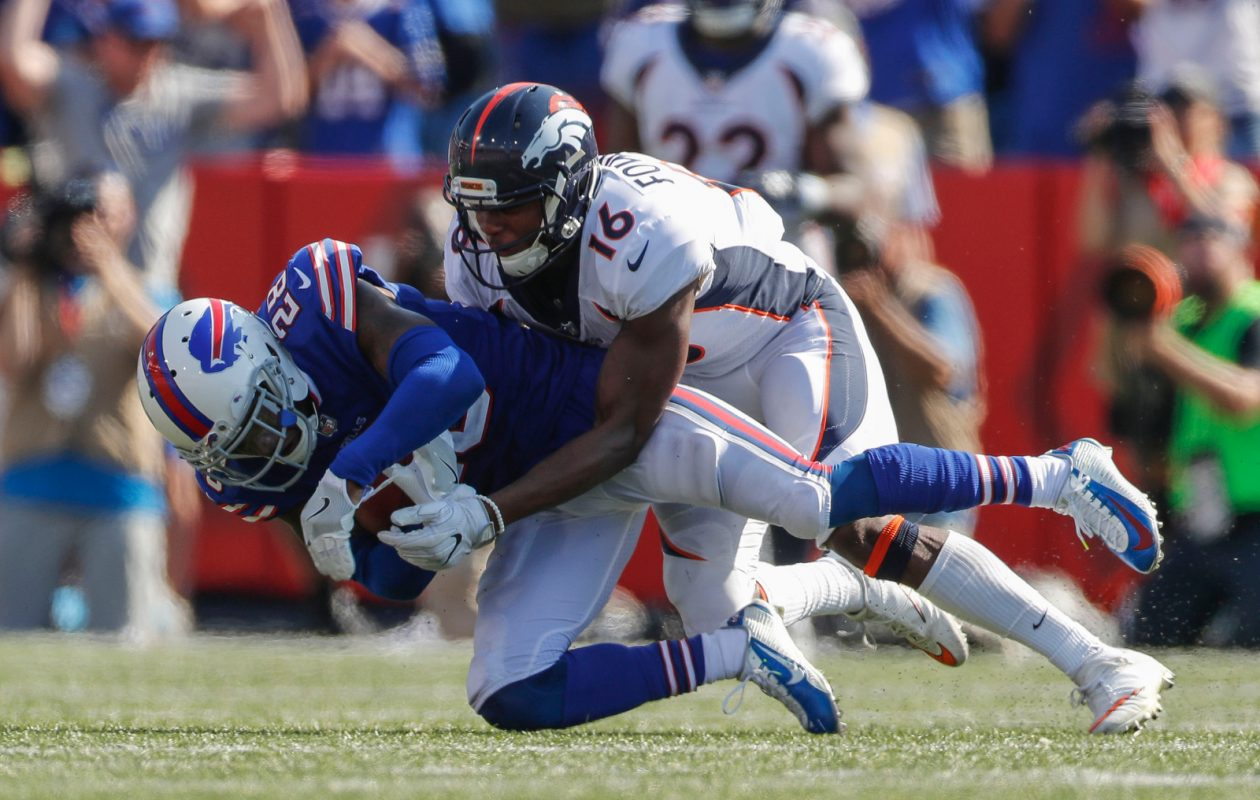 Buffalo Bills cornerback E.J. Gaines (28) intercepts a pass intended for Denver Broncos receiver Bennie Fowler III (16) during the third quarter at New Era Field in Orchard Park on Sunday, Sept. 24, 2017.  (Mark Mulville/Buffalo News)