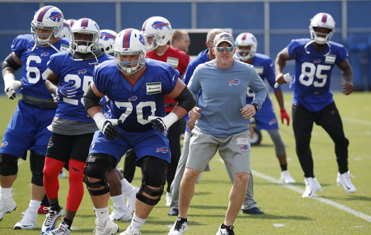 Buffalo Bills head coach Sean McDermott goes through stretching with his team during practice on Monday, Sept. 4, 2017.(Harry Scull Jr./Buffalo News)