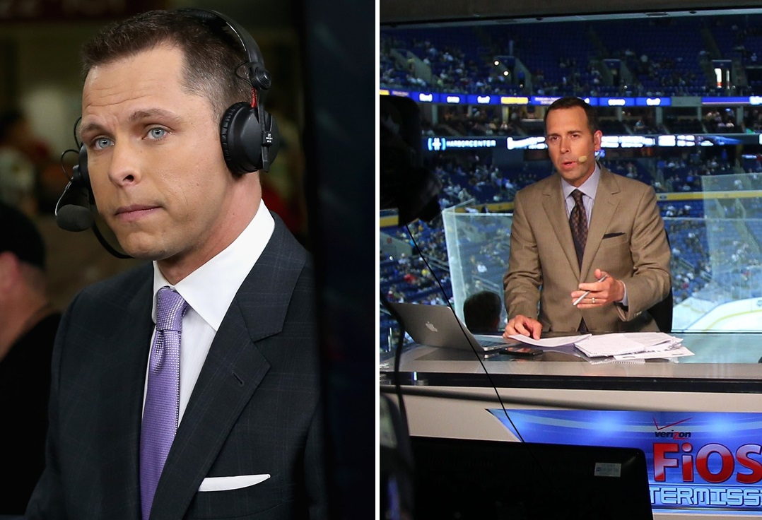 Martin Biron, left, and Brian Duff will provide the Sabres post-game show from the TV studios at New Era Field. (Biron via Getty Images, Duff via Buffalo News file photo)