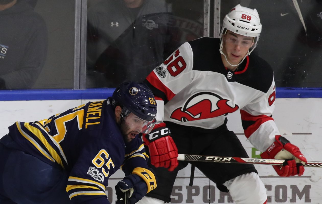 The Sabres' Colin Blackwell gave New Jersey and Colton White all they could handle. (James P. McCoy/Buffalo News)