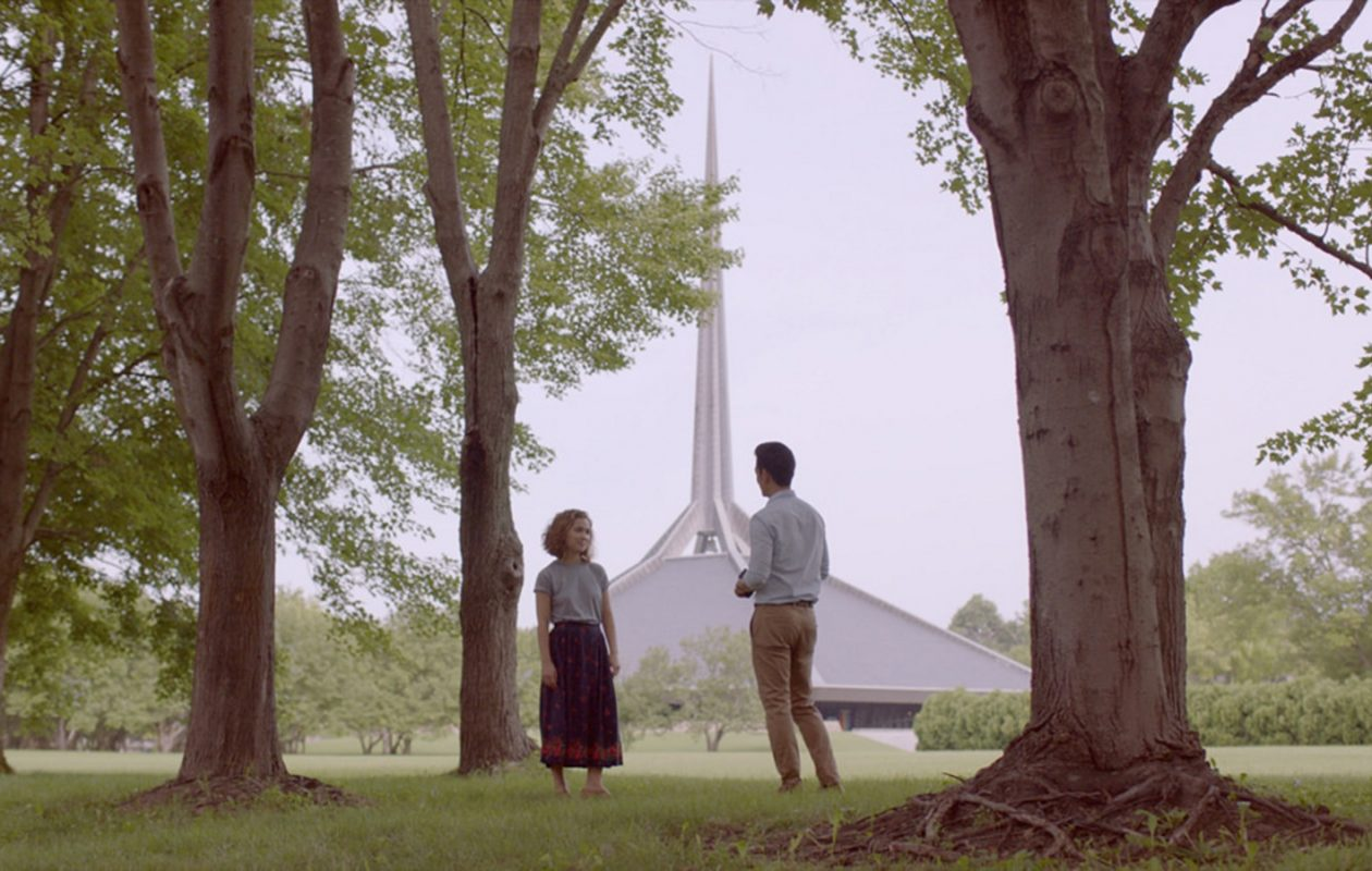 "Haley Lu Richardson and John Cho explore the central Indiana landscape, along with their emotional states, in ""Columbus."" (Sundance Film Festival)"