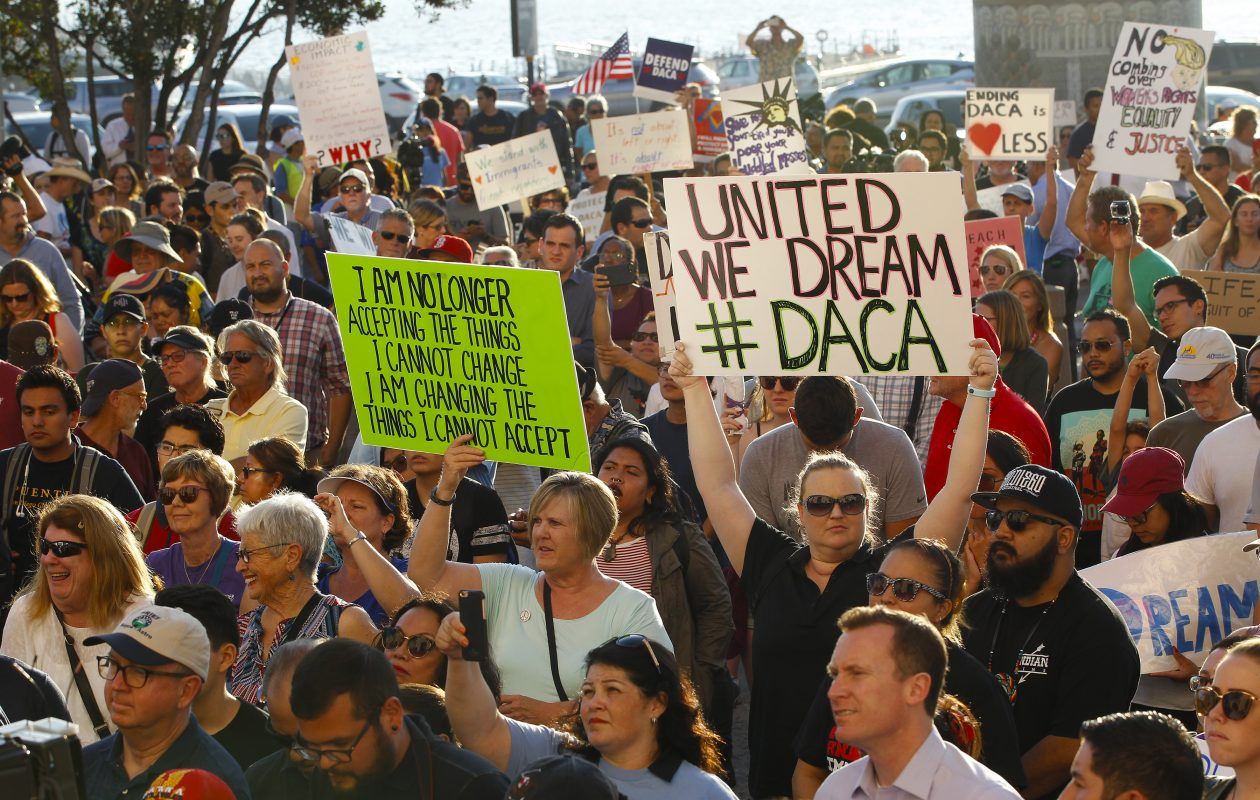 "The Trump administration's decision to phase out proections for so-called undocumented ""dreamers""  touched off protests around the country, including this one in San Diego. (Tribune News Service)"