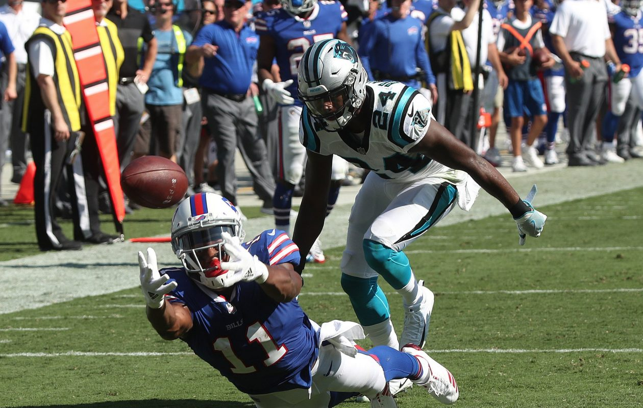 Buffalo Bills wide receiver Zay Jones drops the last pass of the game while covered by Carolina Panthers cornerback James Bradberry on Sept. 17, 2017, at Bank of America Stadium. (James P. McCoy/Buffalo News)