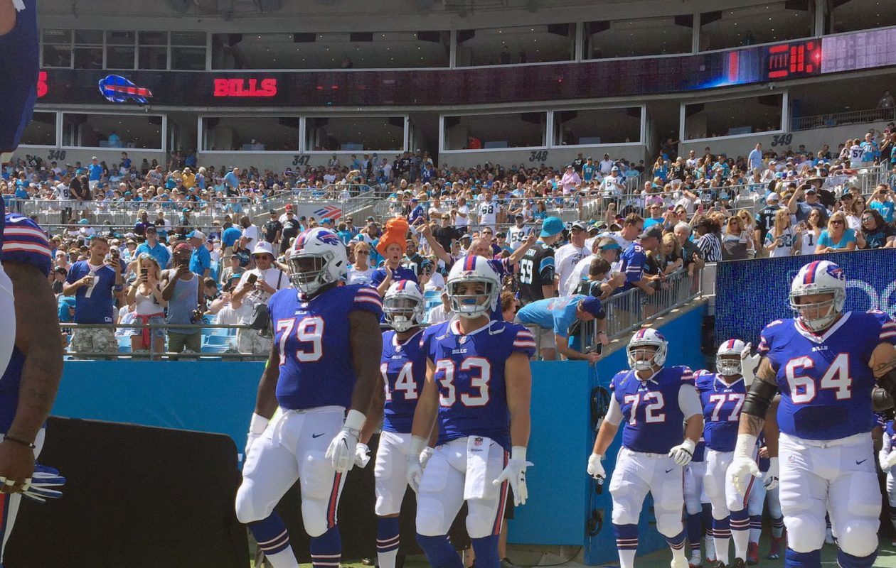 The Bills take the field at Bank of American Stadium in Charlotte, N.C., on Sept. 17. (James P. McCoy/Buffalo News)