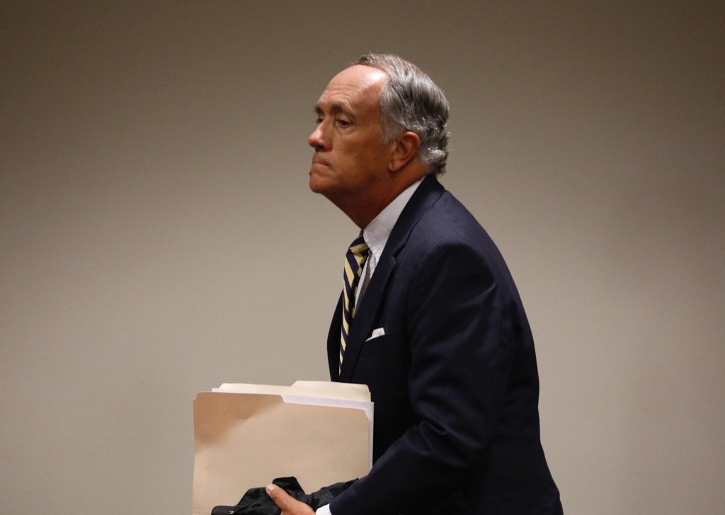 Dennis Black, former UB vice president, arrives in court to face grand larceny charges; expected to enter guilty plea. (Derek Gee/Buffalo News)