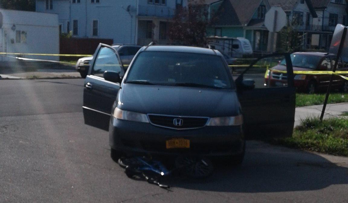 A minivan hit a boy riding his bicycle Sunday afternoon. (Thomas Prohaska/Buffalo News)