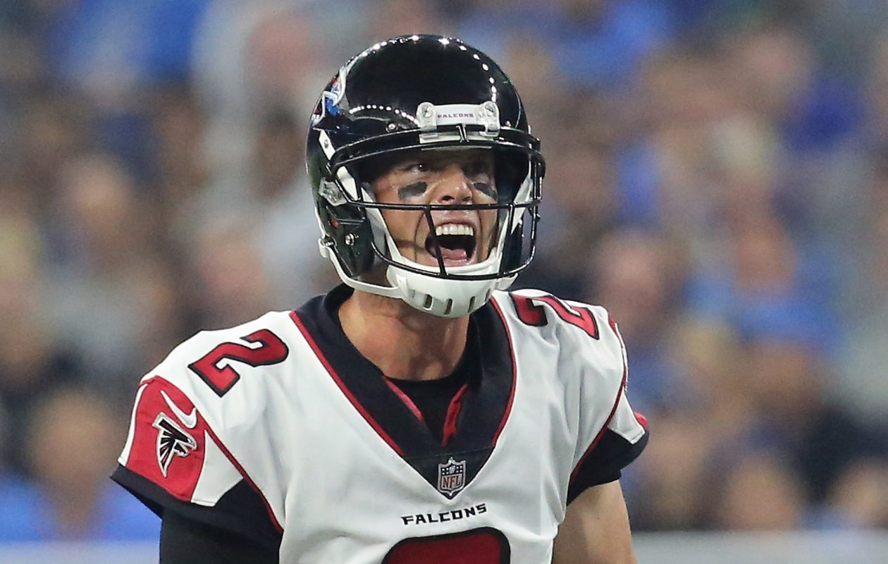Quarterback Matt Ryan of the Atlanta Falcons calls out signals against the Detroit Lions at Ford Field on Sept. 24, 2017, in Detroit. (Rey Del Rio/Getty Images)