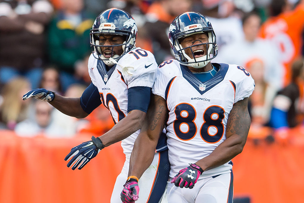 Will Denver wide receivers Emmanuel Sanders and Demaryius Thomas (88) be celebrating against the Bills? Will you start them on your team? (Getty Images)