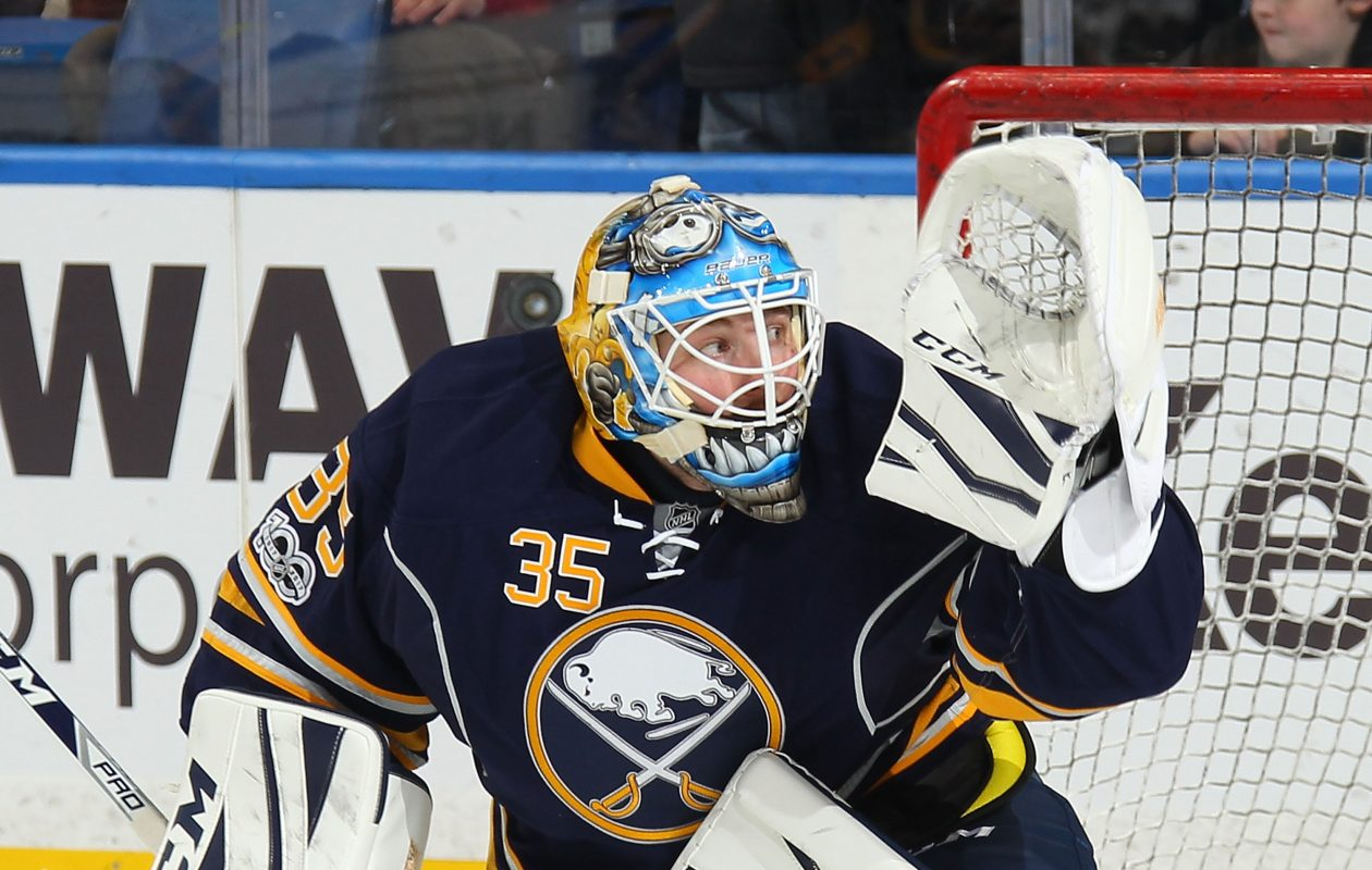 Linus Ullmark is 8-11-2 with a .913 save percentage in 21 appearances for the Sabres. (NHLI via Getty Images)