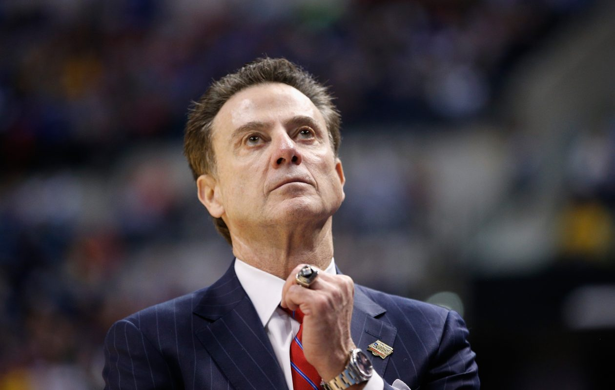 Louisville basketball head coach Rick Pitino has been put on administrative leave. (Photo by Joe Robbins/Getty Images)