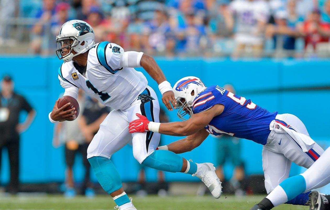 Bills linebacker Lorenzo Alexander pressures Carolina quarterback Cam Newton. (Getty Images)