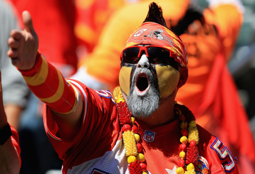 Chiefs fans, like this one at Sunday's game in Los Angeles, could have a lot to be fired up about this season. (Getty Images)