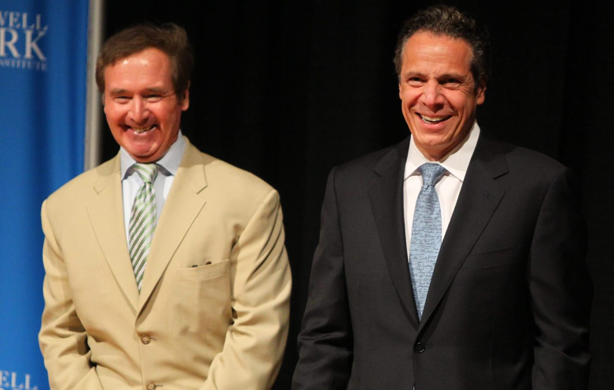 Gov. Andrew Cuomo and Rep. Brian Higgins were smiling at this event, but often differ of issues of  Buffalo's redevelopment.