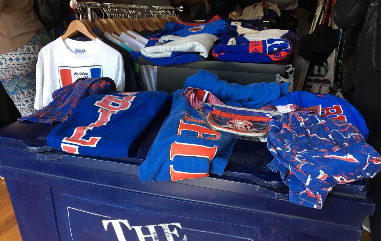 Hundreds of vintage Bills apparel items were on display on Saturday at Buffalo Closet's 'Kiss the Season Hello' pop-up shop on Elmwood. (Jonah Bronstein)