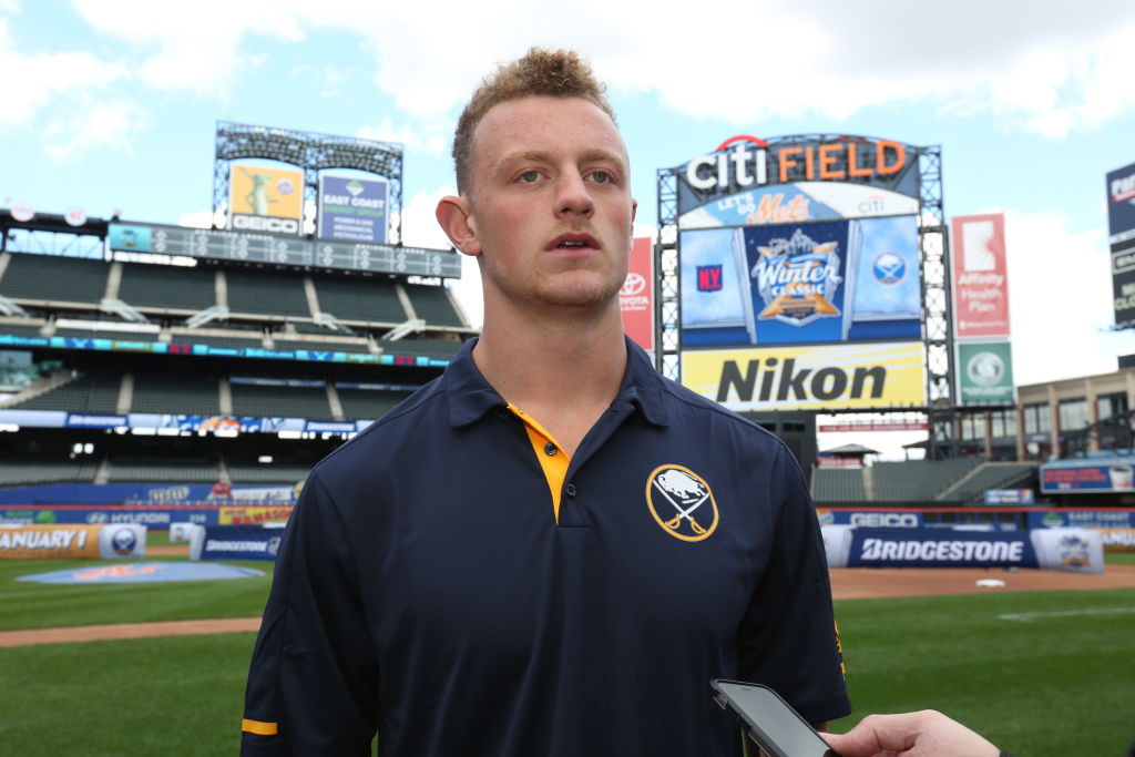 Jack Eichel, speaking to reporters Friday at Citi Field, was 11 when the Sabres last played in the Winter Classic in 2008 (Getty Images).