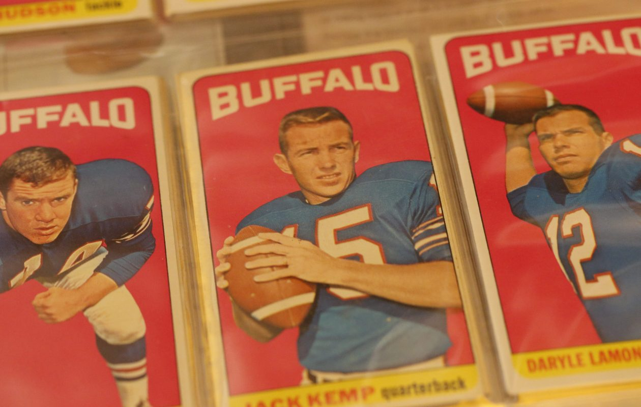 A collection of 1965 Buffalo Bills trading cards, including quarterback Jack Kemp, center, from the collection of Bills fan Greg Tranter.  (Derek Gee/Buffalo News file photo)