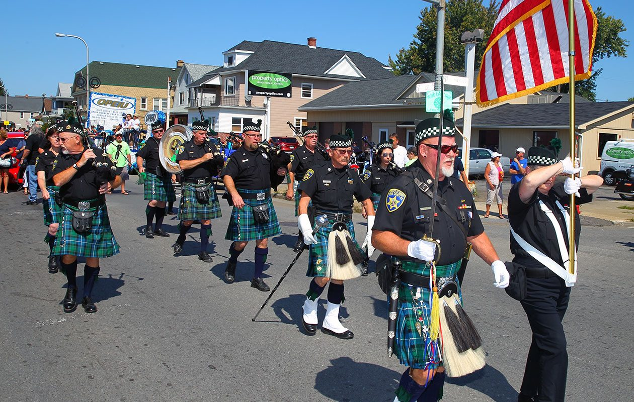 The Erie County Sheriff's Pipes and Drums Corps performs at the 2016 Labor Day parade. (John Hickey/News file photo)