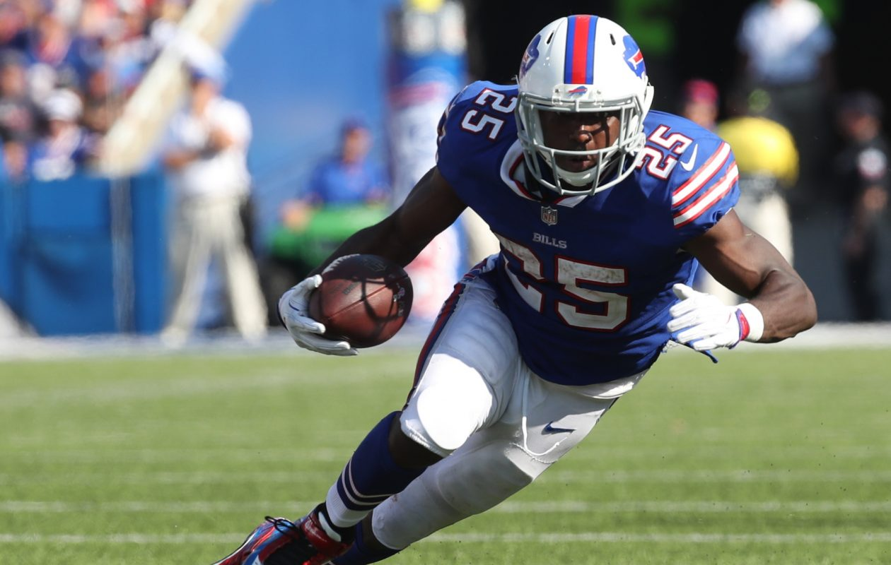 Buffalo Bills running back LeSean McCoy is seen in the fourth quarter of the game against the Denver Broncos at New Era Field in Orchard Park on Sunday, Sept. 24, 2017.  (James P. McCoy / Buffalo News)