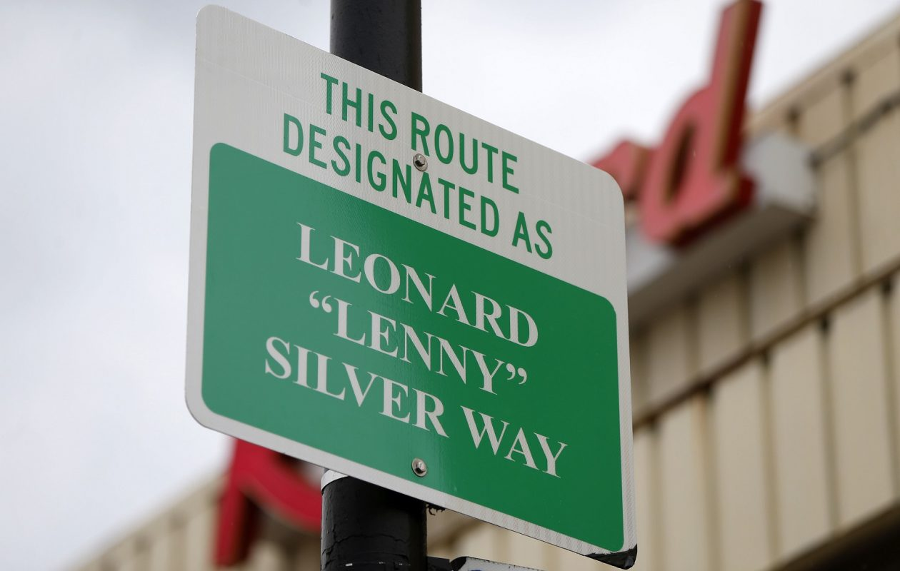 "A new sign at the corner of Main Street and Lafayette Avenue was named as Leonard ""Lenny"" Silver Way after the late Record Theatre owner during a ceremony Friday. (Mark Mulville/Buffalo News)"