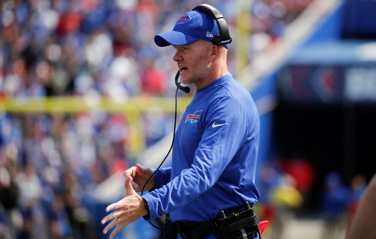 Buffalo Bills head coach Sean McDermott has faced some criticism for not calling a timeout in the game against the Panthers.  (Robert Kirkham/Buffalo News)