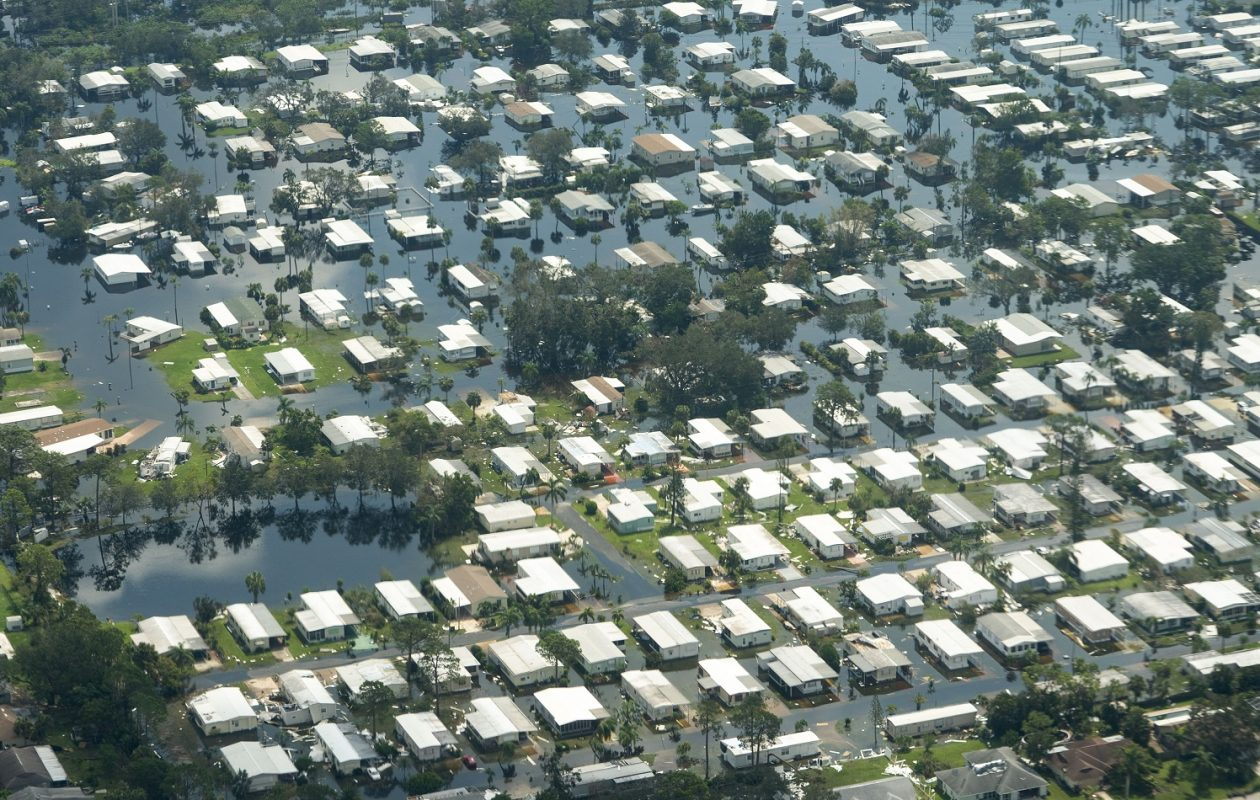 A flooded mobile home park in Naples seen from the air. (Doug Mills/The New York Times)