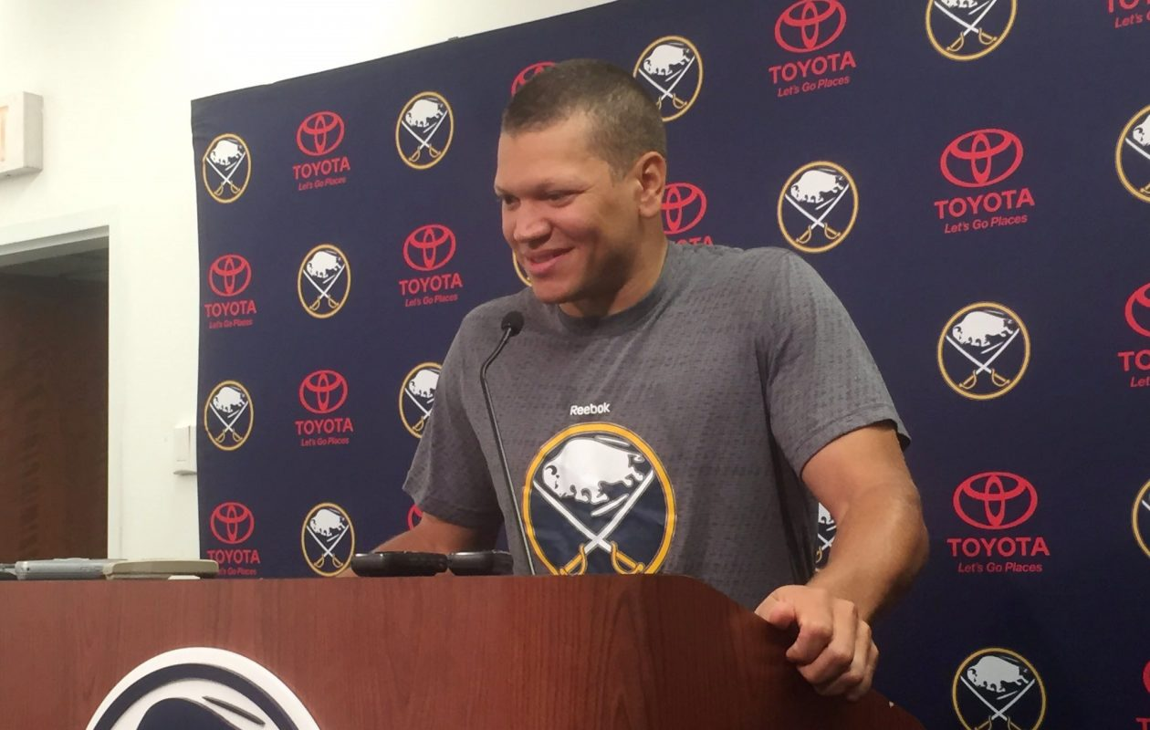 Kyle Okposo had 19 goals and 45 points in 65 games during his first season with the Sabres.  (Mike Harrington/Buffalo News)