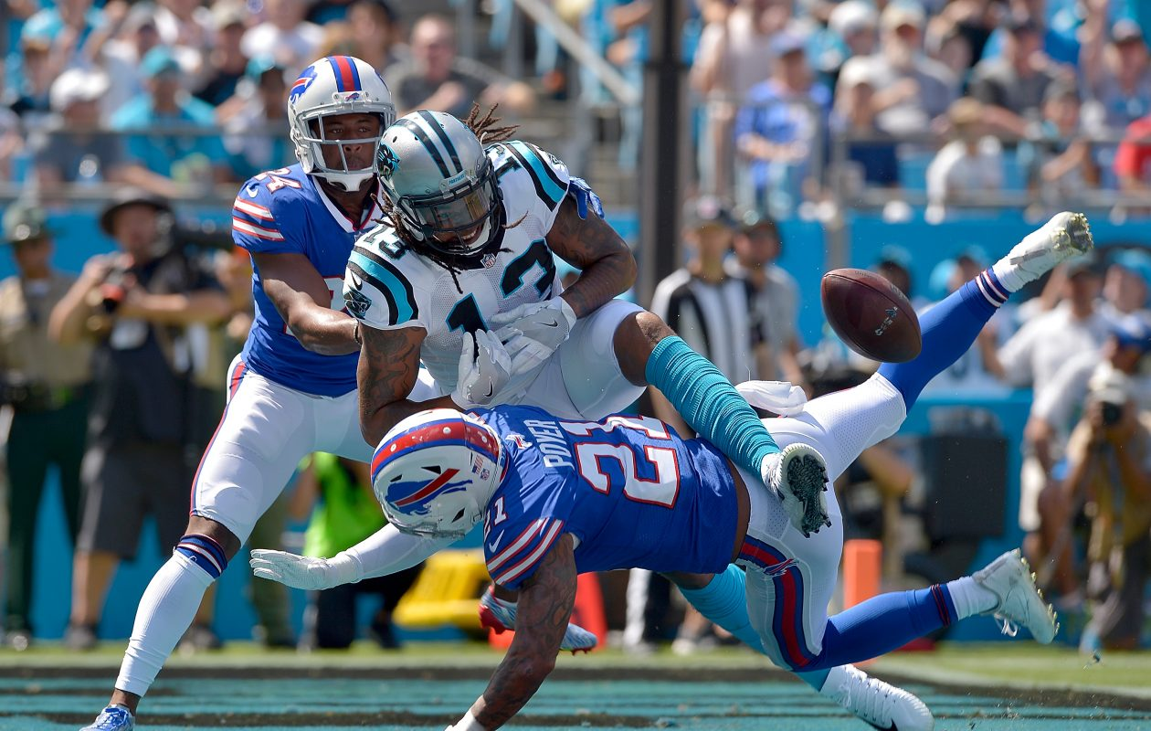 Jordan Poyer of the Bills breaks up a pass intended for Kelvin Benjamin of the Panthers on Sept. 17 at Bank of America Stadium in Charlotte, N.C. (Grant Halverson/Getty Images)