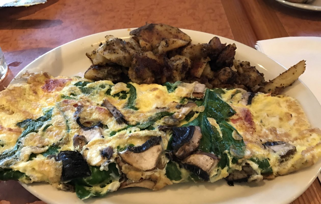 The Greek Florentine Omelet is an oversized and colorful dish packed with fresh vegetables. (Toni Ruberto/Special to The News)