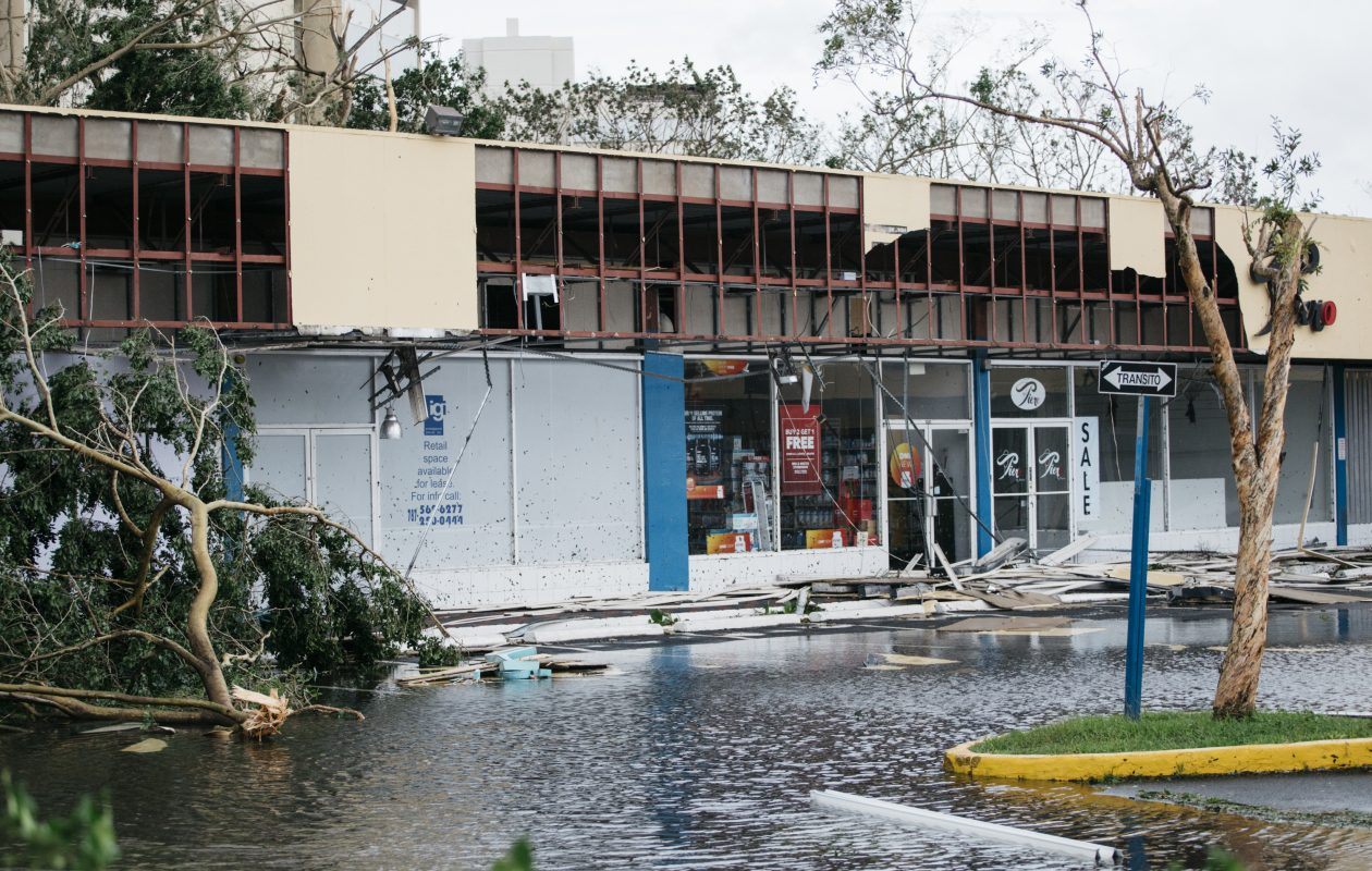 Damage to Garden Hills Plaza after Hurricane Maria in San Juan, P.R., Sept. 20, 2017. Hurricane Maria battered Puerto Rico as a Category 4 storm  on Wednesday, sending thousands of people scrambling to shelters and knocking out power on the island. (Erika P. Rodriguez/New York Times)