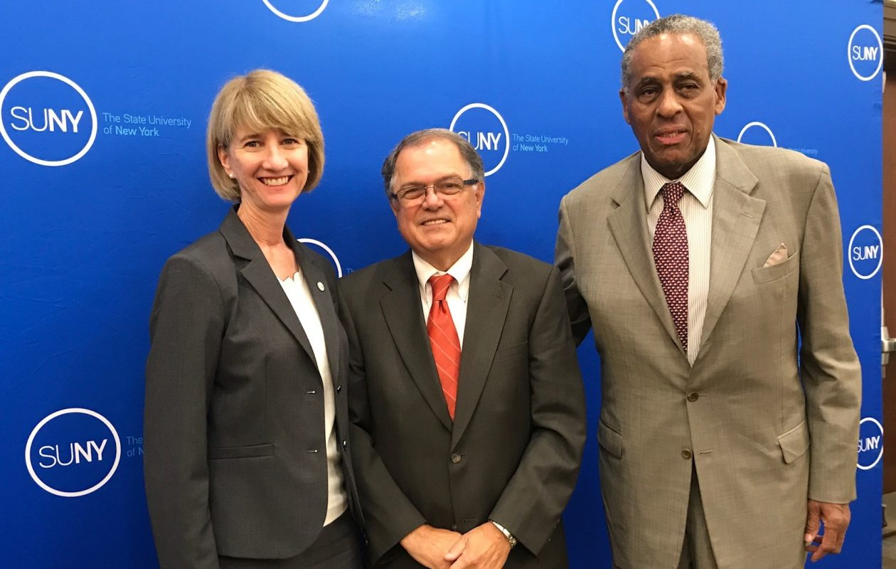 From left, SUNY Chancellor Dr. Kristina M. Johnson, Dr. William J. Murabito and SUNY Chairman of the Board H. Carl McCall. (Submitted photo)