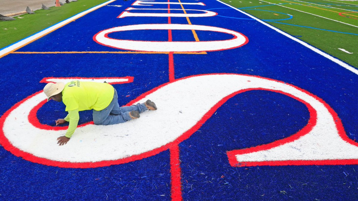 Williamsville South football will finally get its chance to play on the new synthetic turf surface at the school's remodeled athletic fields at Williamsville South High School on Friday night against village rival Williamsville East. (Harry Scull Jr./Buffalo News)