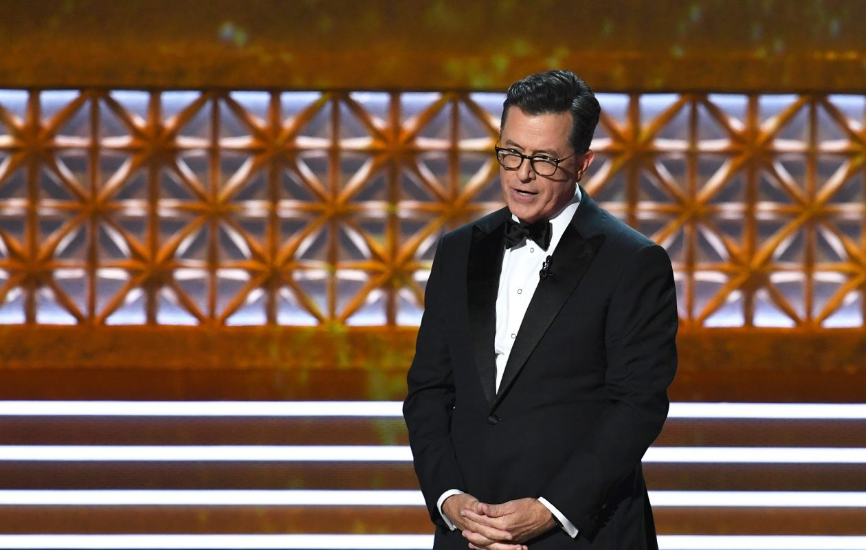 Host Stephen Colbert speaks onstage Sunday during the 69th Annual Primetime Emmy Awards. (Kevin Winter/Getty Images)