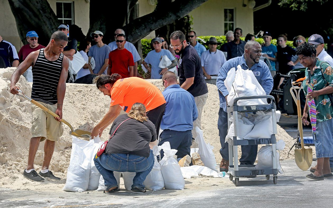 Residents line up to fill sandbags Sept. 7 in preparation for Hurricane Irma in Dania Beach, Fla. East of the Caribbean, Irma has already been the strongest hurricane on record in the Atlantic basin. (Mike Stocker/South Florida Sun-Sentinel/TNS)
