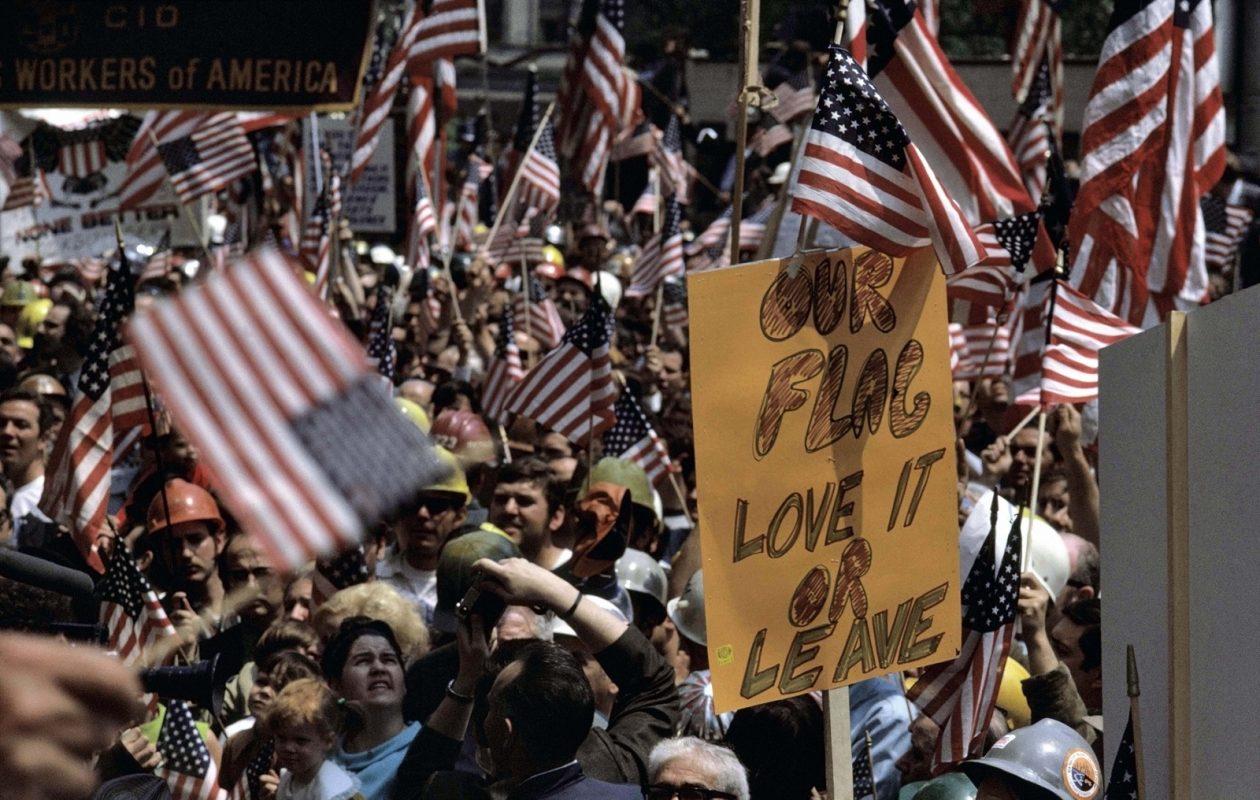'Hard-Hats' demonstrate in favor of the Vietnam War in New York in 1970. It's one scene in Ken Burns' new documentary, 'The Vietnam War.' (Burt Glinn/Magnum Photos)