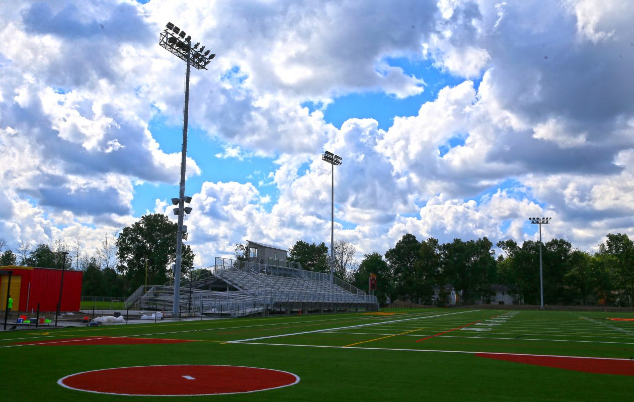 A view from the softball field looking at the football field at Williamsville East High School on Tuesday, Aug. 8, 2017. (Harry Scull Jr./Buffalo News)