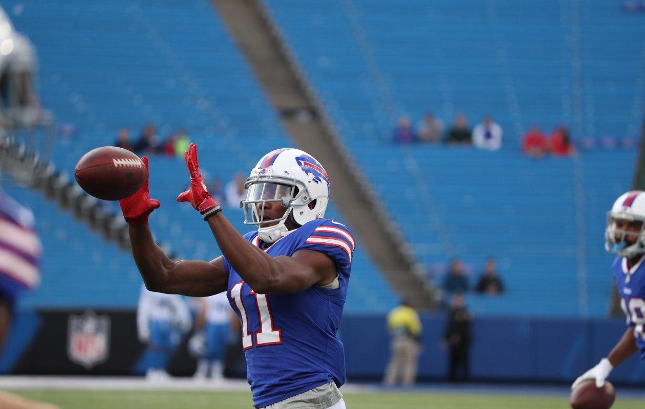 Buffalo Bills wide receiver Zay Jones (11) catches a pass during warm ups at New Era Field Orchard Park on August 31, 2017. (James P. McCoy/Buffalo News)